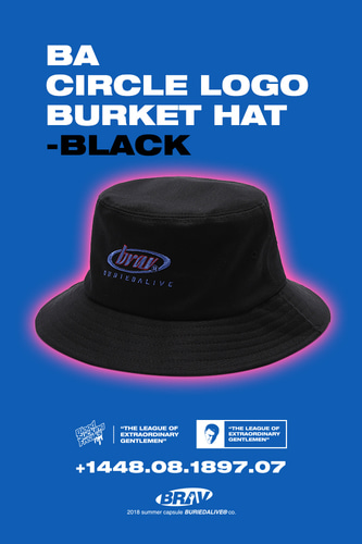 BA CIRCLE LOGO BURKET HAT BLACK