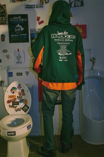 BA X FLUSH HOOD ZIP UP GREEN