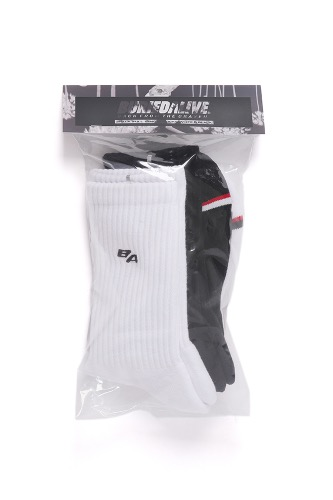 2PACK FULL LENGTH SOCKS WHITE&BLACK