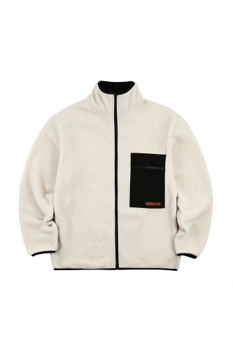 BA CIRCLE LOGO FLEECE JACKET IVORY
